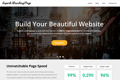 Superb Landing Page A Free WordPress Theme