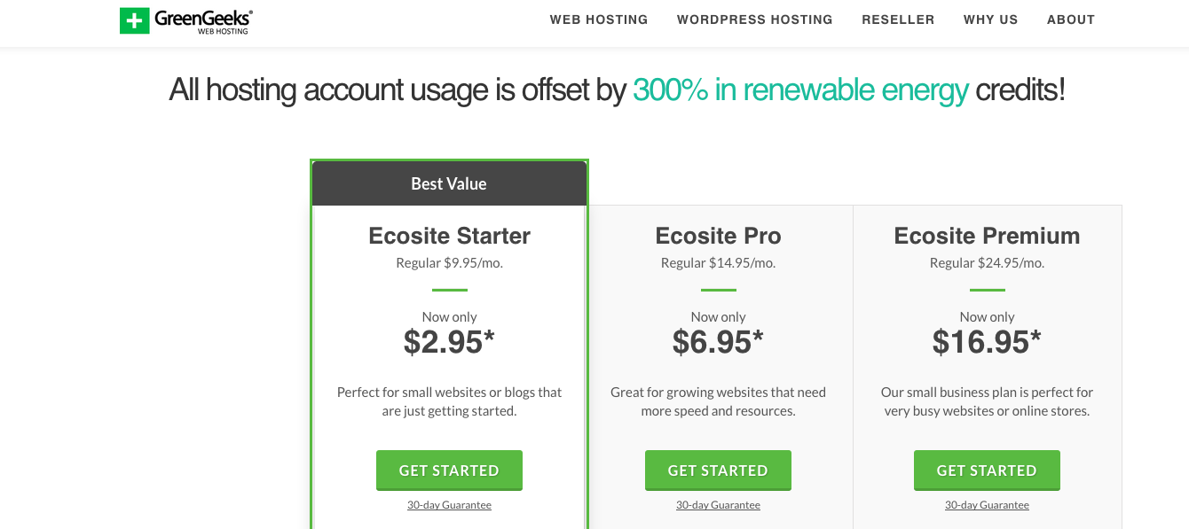 GreenGeeks Pricing