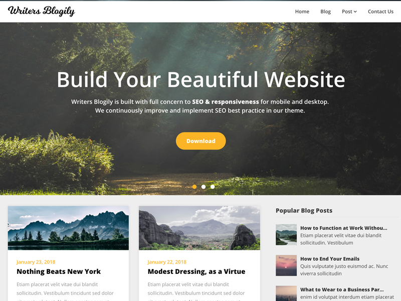 Writers Blogily WordPress Theme