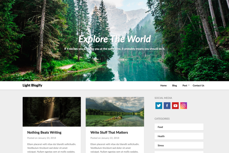 Light Blog A Free WordPress Theme
